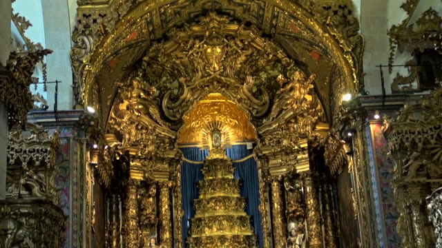 golden altar of the santiago de compostela cathedral - gold stock videos & royalty-free footage