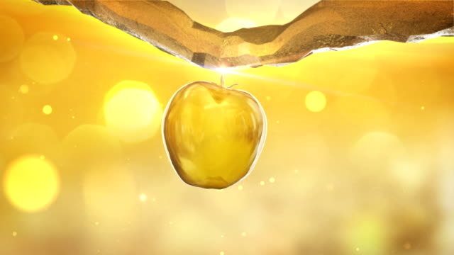 golden, artificial apple-tree close up. apple growing and falling of the branch - branch plant part stock videos & royalty-free footage