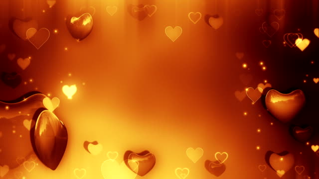 golden background with hearts loop - heart shape stock videos & royalty-free footage
