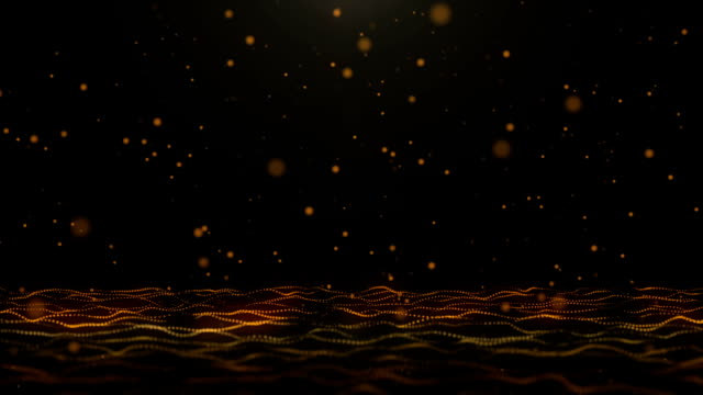 Golden bouncing particles on moving wave pattern abstract background
