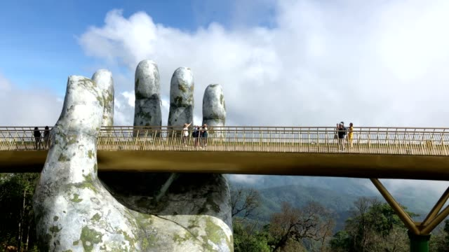 golden bridge in ba na hills - vietnam stock videos & royalty-free footage