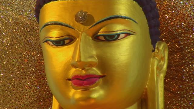 Cu Golden Buddha Statue Mahabodhi Temple Bodh Gaya Bihar India Stock