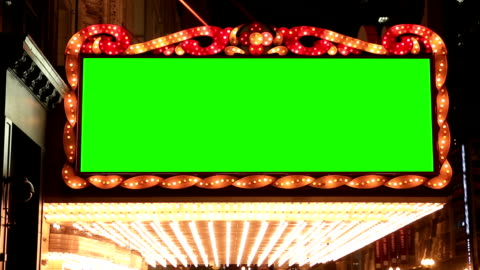 hd: golden bulbs marquee lights background with green screen - theatre building stock videos & royalty-free footage