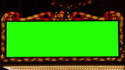 golden bulbs marquee lights Banner background with green screen