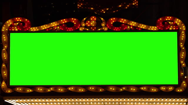 golden bulbs marquee lights banner background with green screen - theatre building stock videos & royalty-free footage