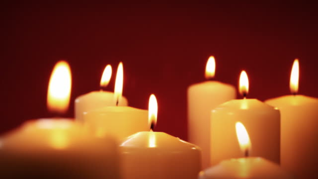 golden candle group - christmas decore candle stock videos & royalty-free footage