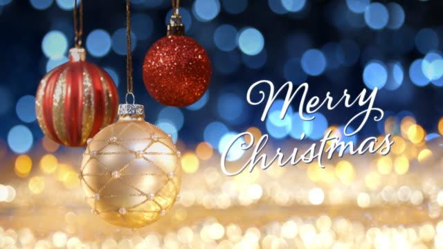ゴールデン クリスマス ライト ボケ デフォーカス装飾金青 - クリスマスカード点の映像素材/bロール