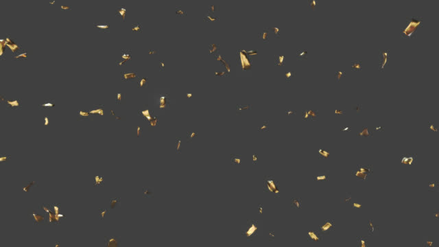 golden confetti falling down. alpha channel will be included when downloading the 4k apple prores 4444 file only. - plain background stock videos & royalty-free footage