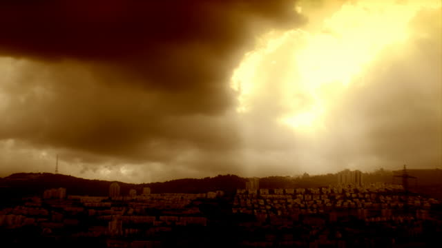 golden crepuscular rays - haifa stock videos and b-roll footage