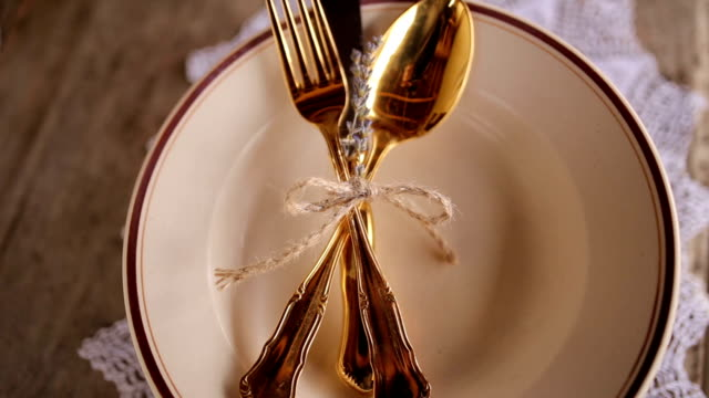 golden cutlery - table knife stock videos & royalty-free footage