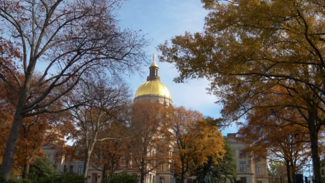 golden dome of georgia state capitol building in atlanta, georgia, through autumn trees - dome stock videos & royalty-free footage