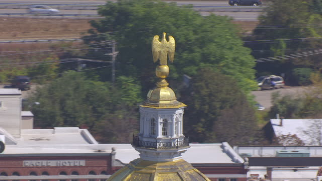 ms ds aerial pov golden dome of new hampshire state house / concord, new hampshire, united states - dome stock videos & royalty-free footage