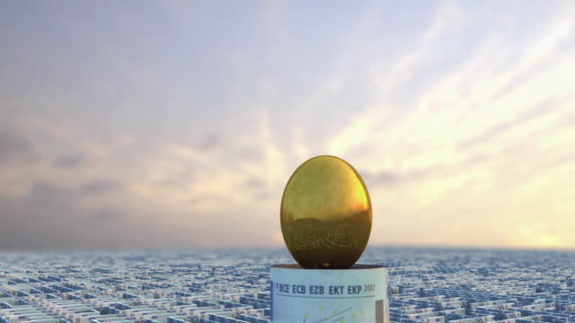 CGI MS ZO WS Golden egg in the middle of a money maze made from Euro banknotes
