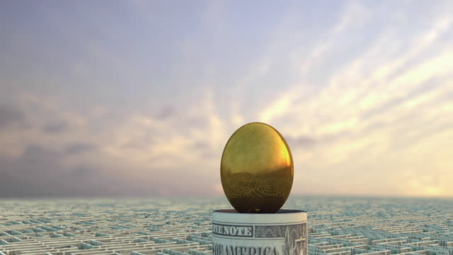 CGI MS ZO WS Golden egg in the middle of money maze made from US Dollar banknotes