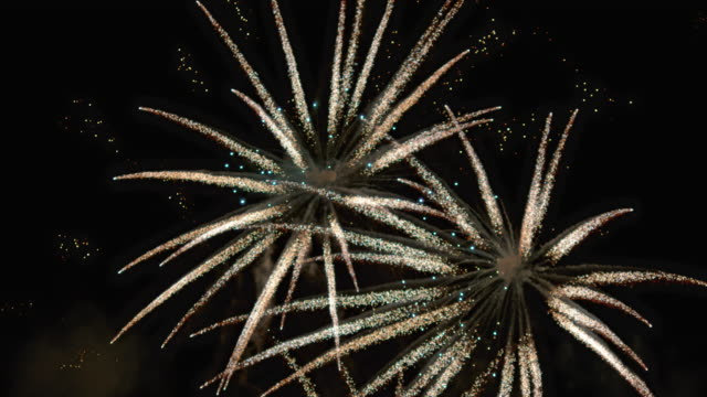slo mo golden fireworks on the night sky - firework display stock videos & royalty-free footage