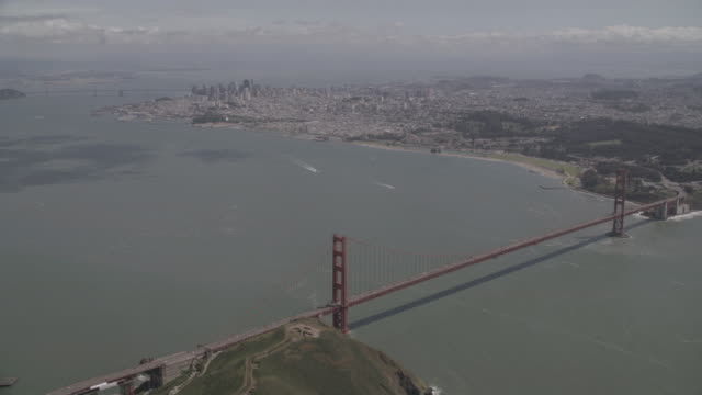 AERIAL Golden Gate bridge and surrounding area of San Francisco Bay and Marin Hills / San Francisco, California, United States
