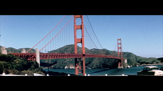 1955 golden gate bridge and the palace of the legion of honor - golden gate bridge stock videos & royalty-free footage