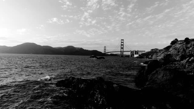 golden gate bridge black and white - san francisco , california pacific coast - pacific coast stock videos & royalty-free footage