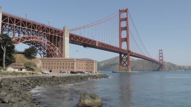 golden gate bridge from fort point, san francisco, california, united states of america, north america - crane shot stock videos & royalty-free footage