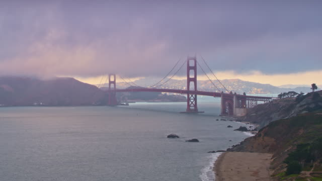 aerial golden gate bridge in fog - golden gate bridge stock videos & royalty-free footage