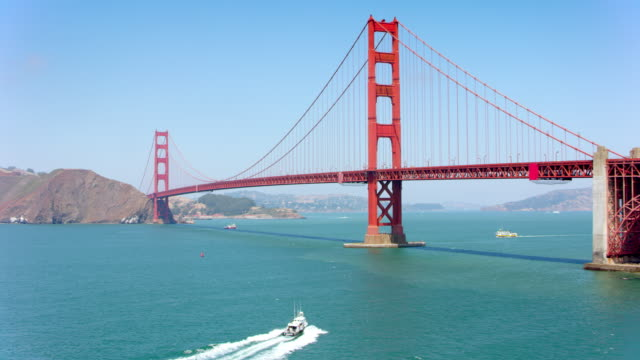 AERIAL Golden Gate Bridge in San Francisco im Sonnenschein