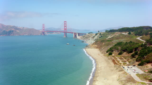 aerial golden gate bridge in san francisco - san francisco bay area stock videos and b-roll footage