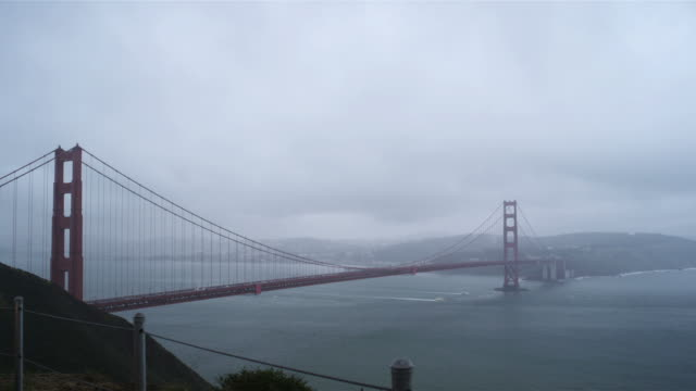 golden gate bridge on a rainy day - golden gate bridge stock videos & royalty-free footage
