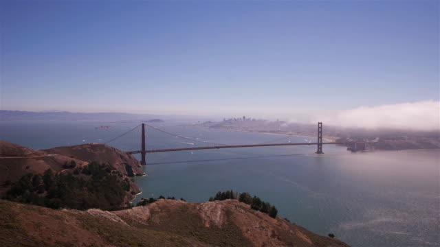 w/s golden gate bridge on a sunny day. san francisco - real time - golden gate bridge stock-videos und b-roll-filmmaterial