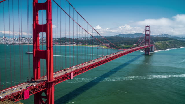 vídeos de stock, filmes e b-roll de ponte golden gate - são francisco - 4k paisagens urbanas, paisagens & establishers - golden gate bridge