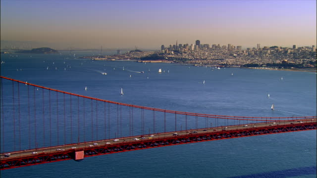 aerial, golden gate bridge, san francisco, california, usa - golden gate bridge stock-videos und b-roll-filmmaterial