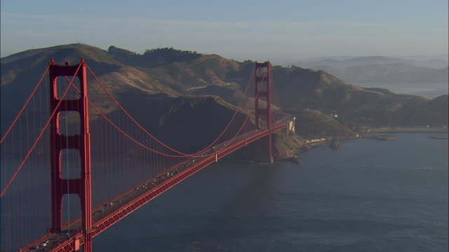 aerial golden gate bridge, san francisco, california, usa - san francisco california video stock e b–roll