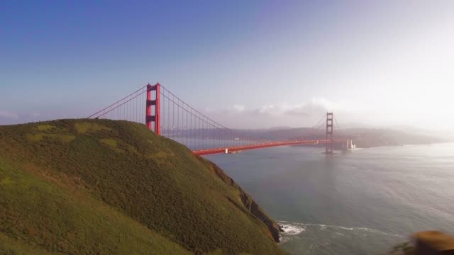golden gate bridge: steady tracking shot from the marin headlands - san francisco bay stock videos & royalty-free footage