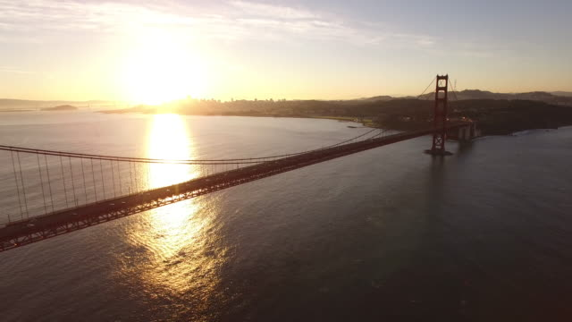 Golden Gate Bridge Sunrise Reveal Aerial, 4K, Stock Video Sale - Drone Discoveries llc..mov