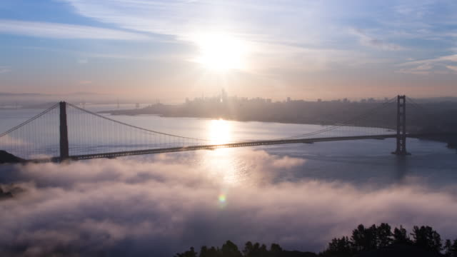 golden gate bridge sunrise - golden gate bridge stock videos & royalty-free footage
