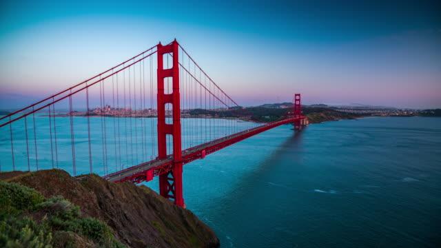 golden gate bridge sunset san francisco california usa - 4k cityscapes, landscapes & establishers - golden gate bridge stock videos & royalty-free footage