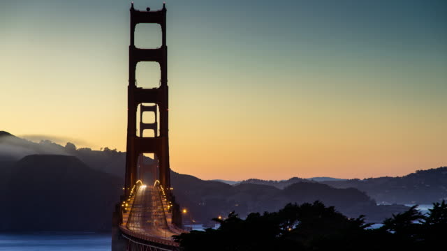 golden gate bridge sunset - time lapse - marin stock videos & royalty-free footage