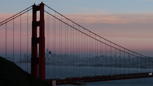 golden gate bridge twilight - san francisco california stock videos & royalty-free footage
