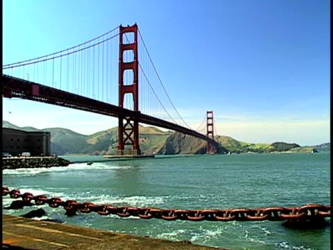 vídeos de stock e filmes b-roll de golden gate bridge - chain bridge suspension bridge