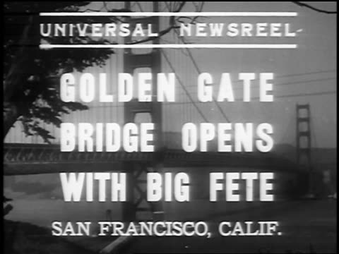 golden gate bridge with titles announcing opening / san francisco / newsreel - 1937 stock-videos und b-roll-filmmaterial