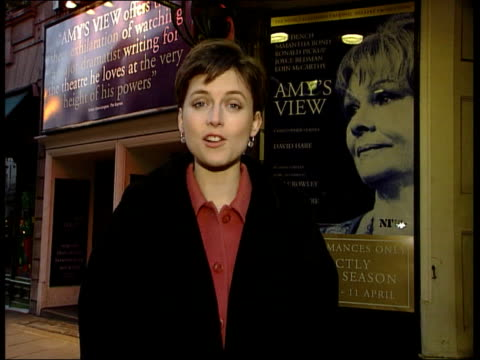 london: aldwych theatre: ext: i/c night: dame judi dench intvwd sot - feels very unreal - golden globe awards stock videos & royalty-free footage