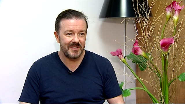 golden globes awards ceremony: ricky gervais to host again; england: london: ricky gervais interview sot - mainly i did it to shut those people up... - ricky gervais stock videos & royalty-free footage