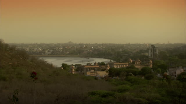 A golden haze hangs over the city of Jaipur, India. Available in HD