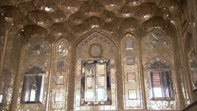MS TU LA Golden honeycomb shaped ceiling at Chehel Sotoun pavilion, Isfahan, Iran