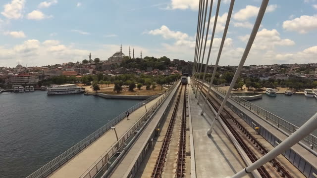 golden horn metro bridge - golden horn istanbul stock videos and b-roll footage