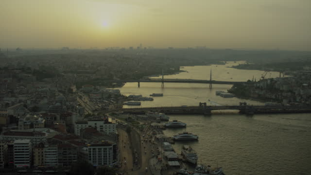 golden horn with ferries in istanbul - golden horn istanbul stock videos and b-roll footage