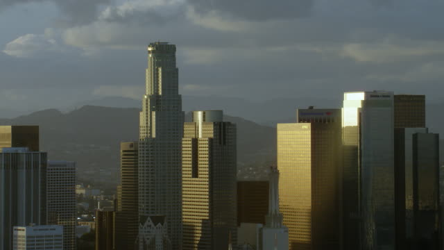 Golden hour shot of skyscrapers in downtown Los Angeles, California.