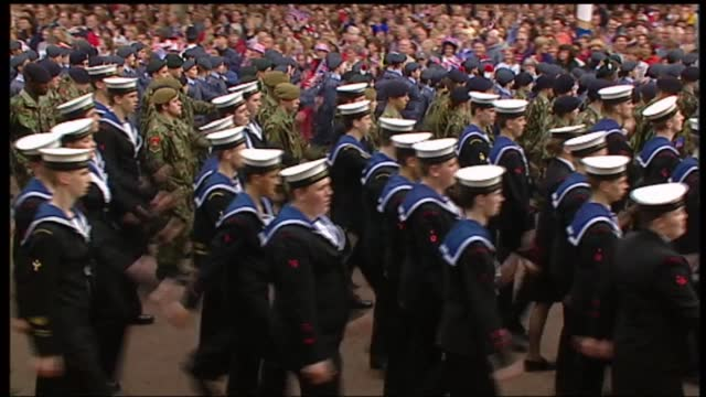 international clean feed: 15.30 - 17.-00: 16:9; england: london: ext tgvs british legion along with many flags queen elizabeth ii and prince philip,... - cadet stock videos & royalty-free footage