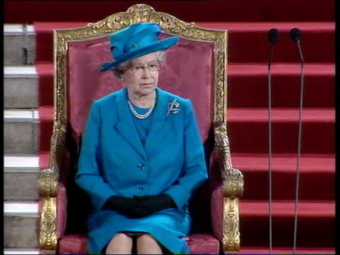 queen addresses parliament; pool england: london: westminster: westminster hall: int trumpeters sounding fanfare for queen elizabeth ii tcms queen... - elizabeth ii stock videos & royalty-free footage