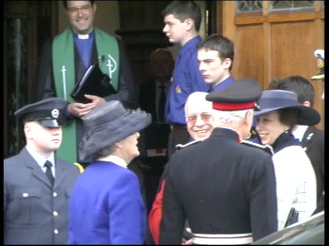 royal family attend church; itn scotland: ayr: st columba church: lms princess anne, princess royal chatting with people outside church - ayr stock videos & royalty-free footage