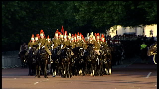 royal family attends church / preparations england london the mall gvs group of motocycle policemenalong by palace 004042 ls mounted horseguards... - golden jubilee stock videos & royalty-free footage